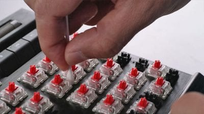 How to Clean a Mechanical Keyboard - between key switches