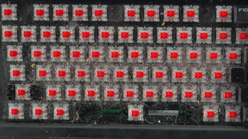 How to Clean a Mechanical Keyboard - dirty mechanical keyboard